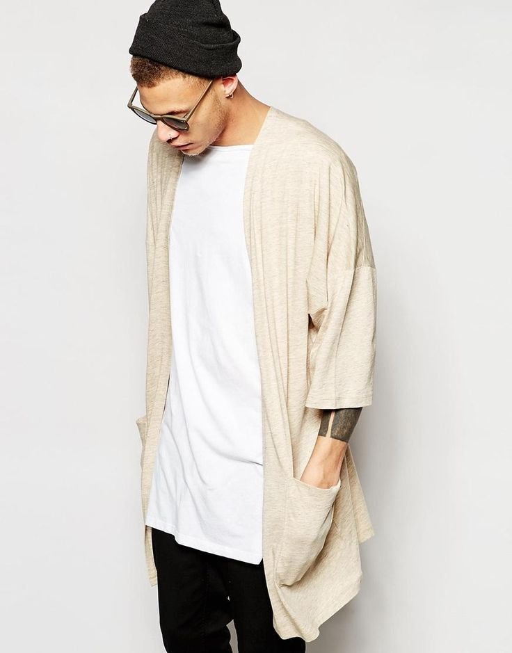 Can we talk about how great this outfit looks? I love the use of a neutral tone to contrast the black denim pants  ASOS | ASOS Longline Kimono Cardigan In Beige at ASOS