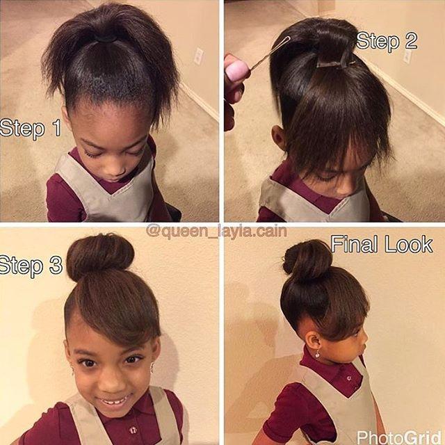 This is so cute @queen_layla.cain ❤ Faux bangs and bun on blown out hair #voiceofhair voiceofhair.com