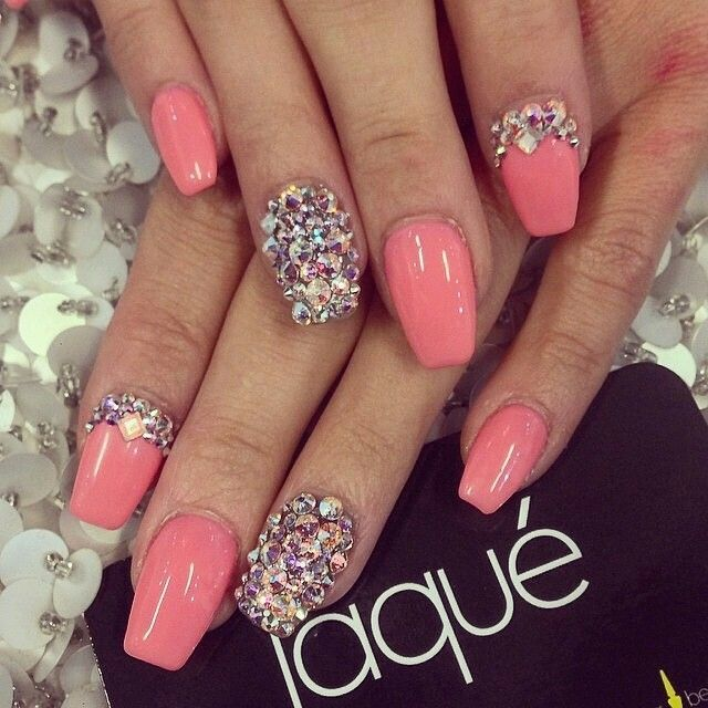 Best 25 nails with diamonds ideas on pinterest long nails long coral coloured nails accented diamond nail love this nail art also would do the nails longer prinsesfo Gallery