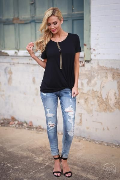 Shorely Knot Top - Black