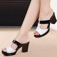 Женская мода сандалии удобная geuine кожаные толстые каблуки женские повседневная обувь летняя площадка сандалии плюс размер 35-42(China (Mainland))