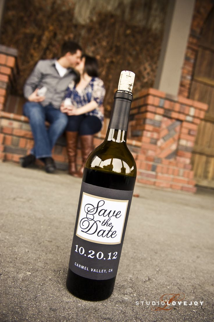 Wine Bottle Save the Date.. Imagine sitting on a blanket on the grass in front of the vineyard at Casa Larga. Plan this photo shoot 8-12 months in advance. You will start sending your Save The Dates 6 months prior to the wedding ceremony.  Ask about our personalized wine labels! www.casalarga.com/weddings