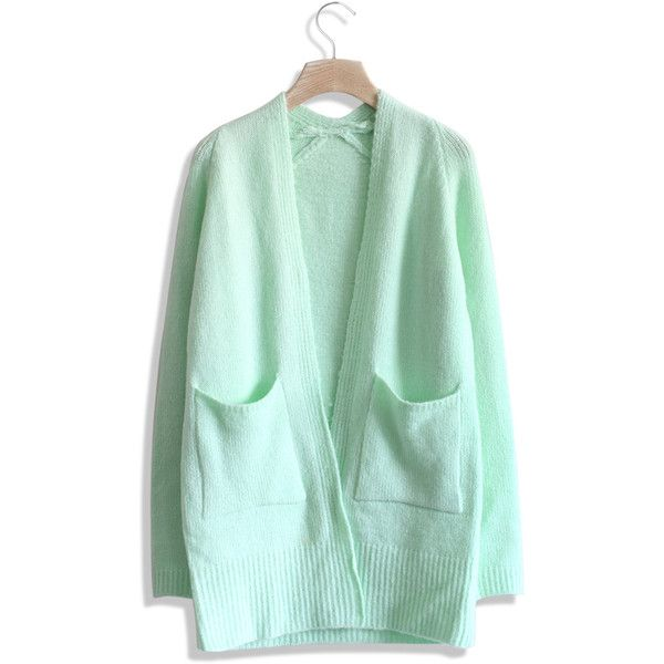 Chicwish Basic Pocket Knitted Cardigan in Mint (690 ZAR) ❤ liked on Polyvore featuring tops, cardigans, sweaters, outerwear, green, open front cardigan, mint cardigan, raglan sleeve top, mint green top and pocket cardigan