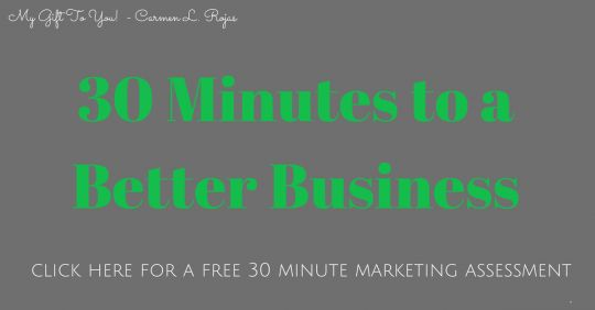 In 30 min, I can help you get back on track with your marketing! No commitment, no harassment. Click the link and fill out the brief form to get your 30 minutes!