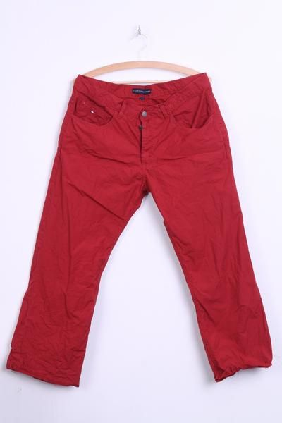 Tommy Hilfiger Mens W36 L30 Trousers Red Cotton Cool Town - RetrospectClothes