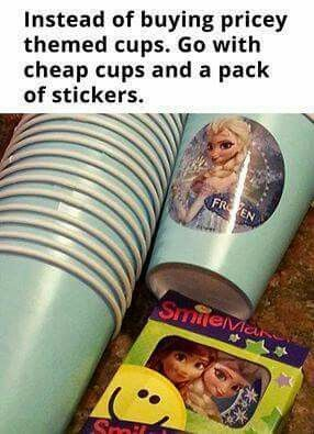 This is brilliant! Cups and stickers for kids party!