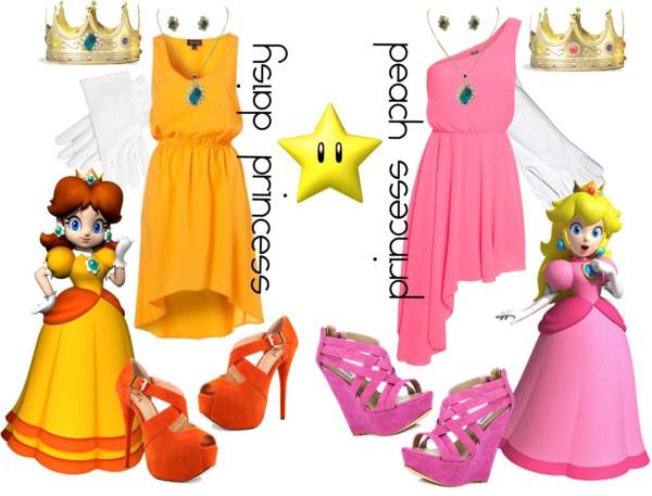 """princess daisy + princess peach"" by simmaaay ❤ liked on Polyvore"