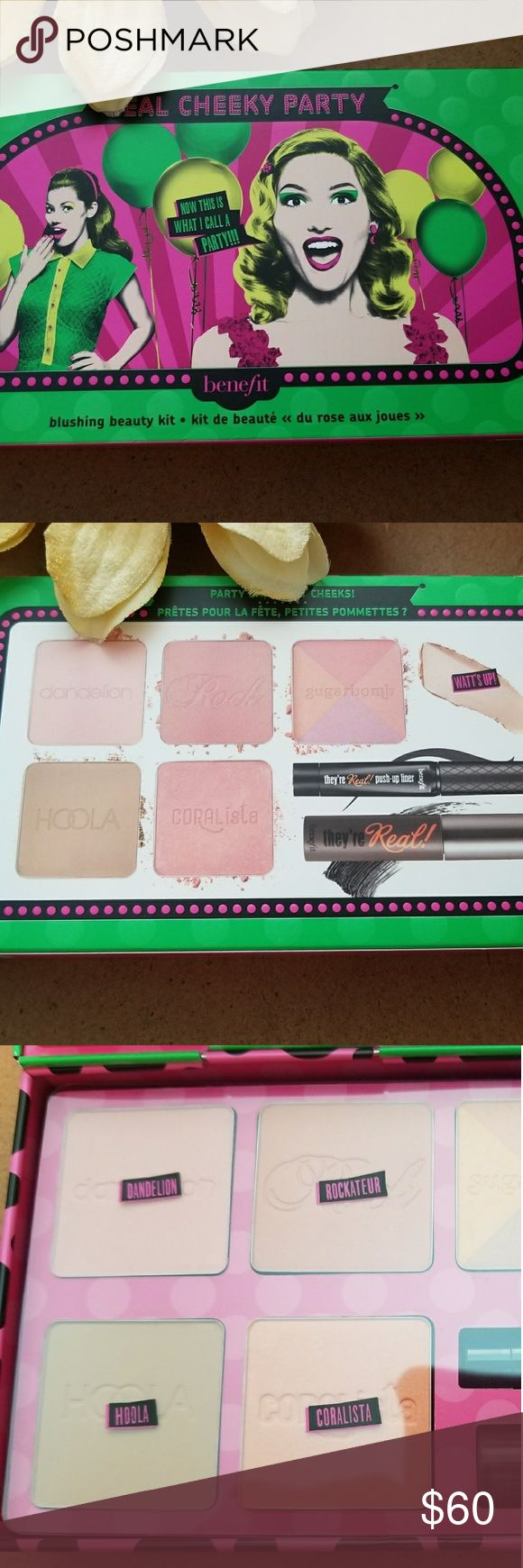 """Benefit Real Cheeky Party Mascara Liner Blush NIB Authentic Benefit """"Real Cheeky Party"""". Includes They're Real Mascara, push-up Liner & 5 Blushes & limited edition tin! NIB. Never used or tested!! Benefit Makeup"""