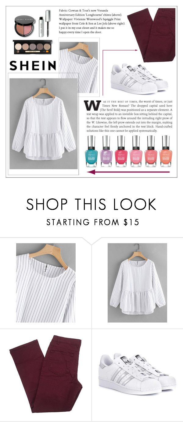 """Frill Hem High Low Pinstriped Blouse- WIN 30$ coupon -SHEIN"" by dz-eminaa ❤ liked on Polyvore featuring adidas Originals and Bobbi Brown Cosmetics"