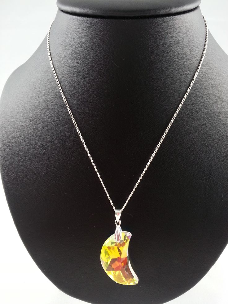 Swarovski moon necklace - from set, on black background