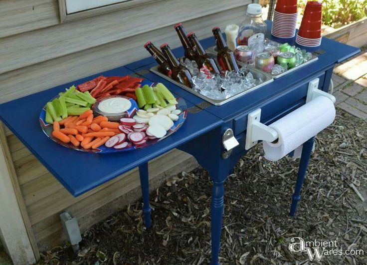 OLD SEWING TABLE turns into INSPIRED PARTY STATION... This is such a great idea!!