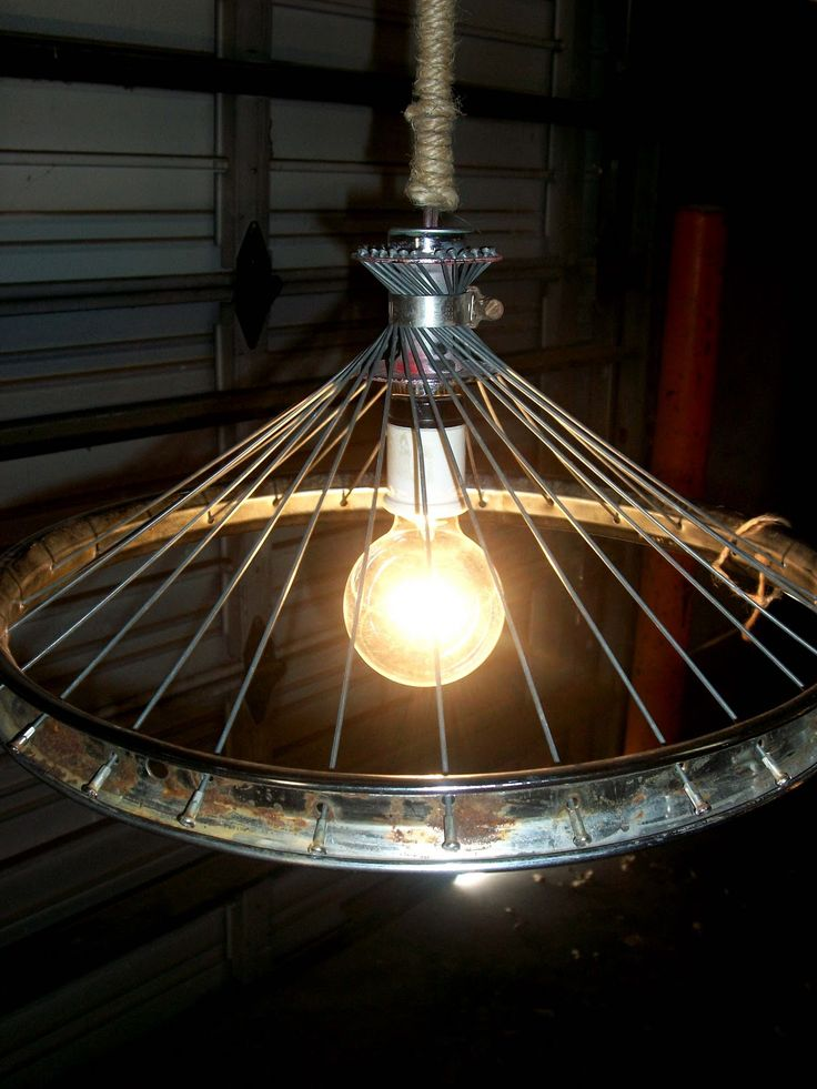 243 best upcycled lighting images on pinterest farmhouse decor bike part lamp shade mozeypictures Images