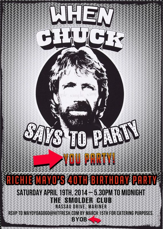 Chuck Norris meme Invitation Men's Birthday Milestone ...