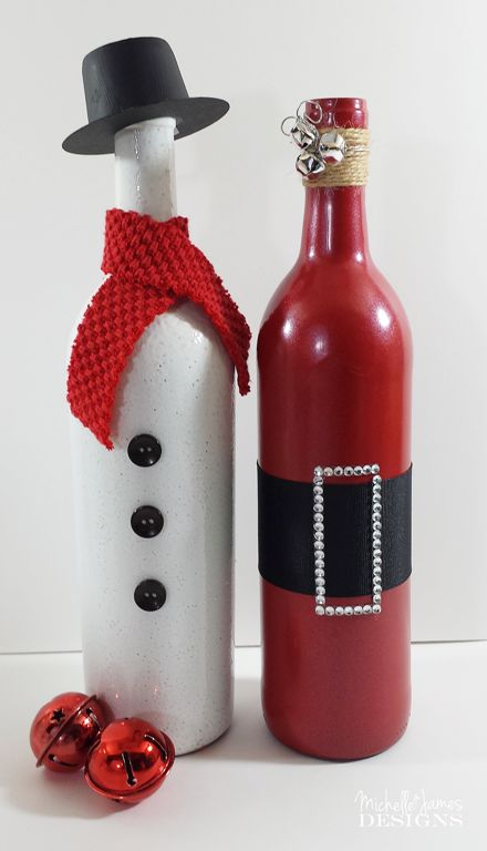 Holiday Wine Bottles - www.michellejdesigns.com - Create these two holiday wine bottle decor for use at home or as a gift!