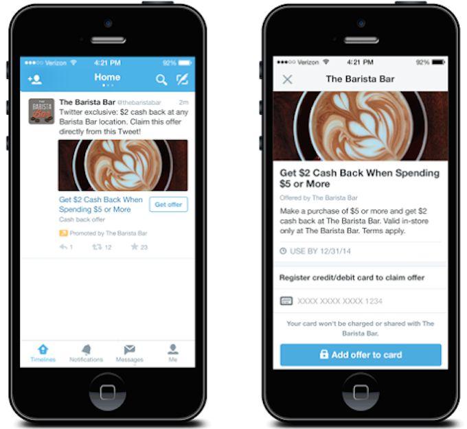 """Dopo il lancio del tasto """"buy"""" all'interno dei tweet promossi dalle azienda, Twitter sta testando un nuovo modello che strizza l'occhio alle piccole medie imprese.  Tutto sembra molto semplice:  1- l'utente lega il suo account twitter alla sua carta di credito;  2- l'azienda pubblica un'offerta con uno sconto legato al pagamento con quella carta;  3- l'utente vede la pubblicità su twitter, aderisce all'offerta e quando si rega in negozio, on o offline, lo sconto viene applicato ..."""