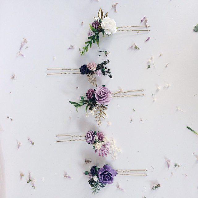 Flower Hair Pins Lavender Hair Flowers Set Of 5 Hair Pins Bridal Hair Piece Purple Lilac And Gold Hair Flowers Floral Hair Pins Floral Hair Pins Flower Hair Pin Flowers In Hair
