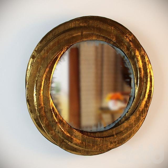 Круглое состаренное зеркало