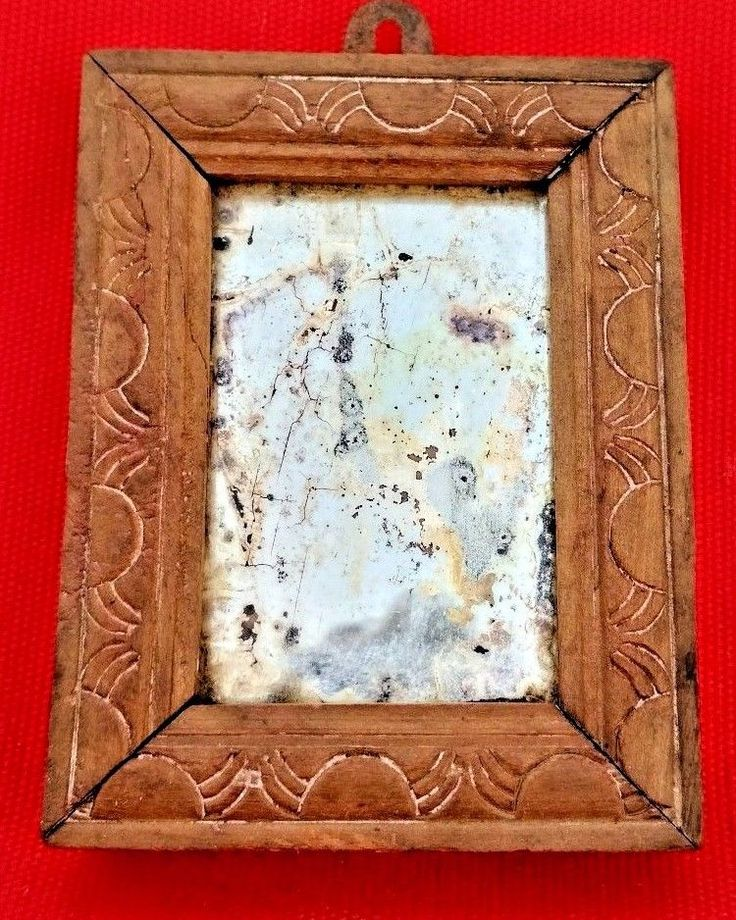 VINTAGE COLLECTIBLE OLD INDIAN WOODEN HAND CARVED FRAME SMALL SHAVING MIRROR #HANDMADE
