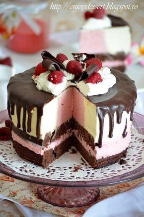 Tort de ciocolata cu mousse de iaurt si zmeura
