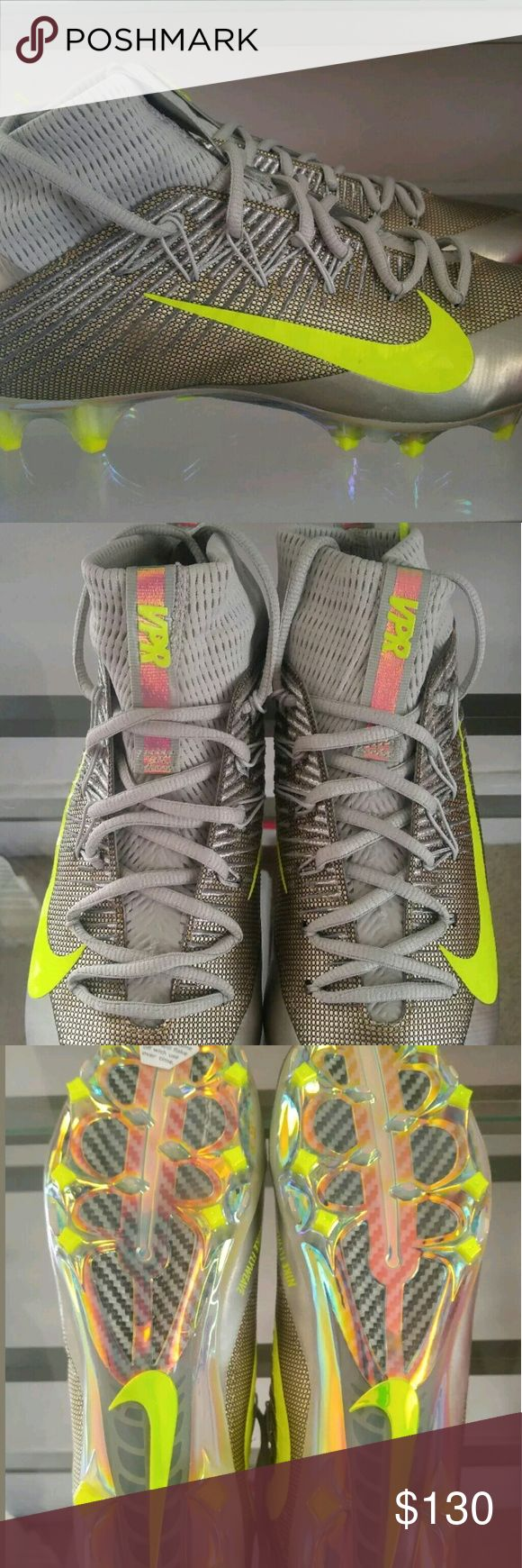 Nike Men's Football Cleats Untouchables 2 sz 10.5 You are buying Nike Vapor Untouchables 2 Grey/Volt 824470-010 Size 10.5 Originally 200.00 BRAND NEW with box and VPR bag!    Size: Adult Men's 10.5  Colors: Wolf Grey/Black/Gris Pale/Platine MTLQ/Volt   Style: 824470-010  Features: Flyweave tech (space stuff they use in space suits!) Comes with VPR bag, Bottoms of cleats holographic, VPR on tongue, and back loops   These shoes are QUALITY, you can see in the pictures tight seams,  great…
