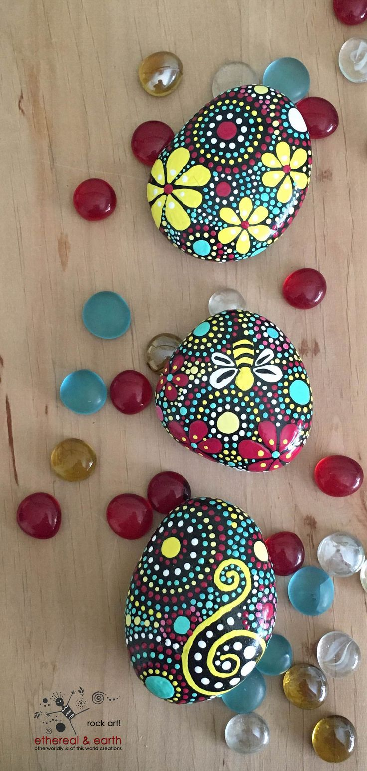 Rock Art - Hand Painted Stones - ethereal & earth - FREE Shipping!