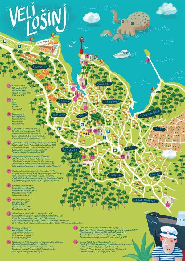 Tourist map of Veli Losinj, Croatia - Tomislav Zlotic