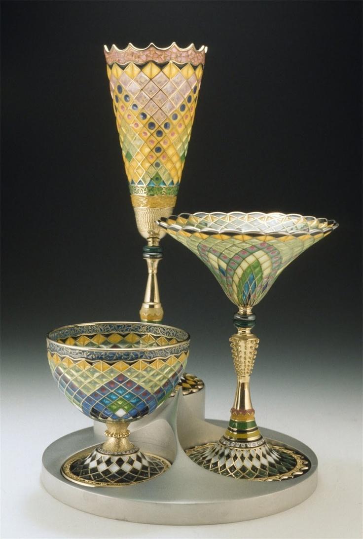 """""""Liquor Set (3 Glasses)"""" by Valeri Timofeev, East Stroudsburg, PA 18k gold, diamonds, Plique-a-Jour enamel. (Modern) #plique_a_jour"""