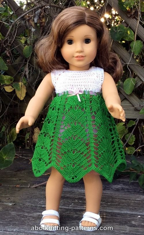ABC Knitting Patterns - American Girl Doll Tropical Vacation Dress
