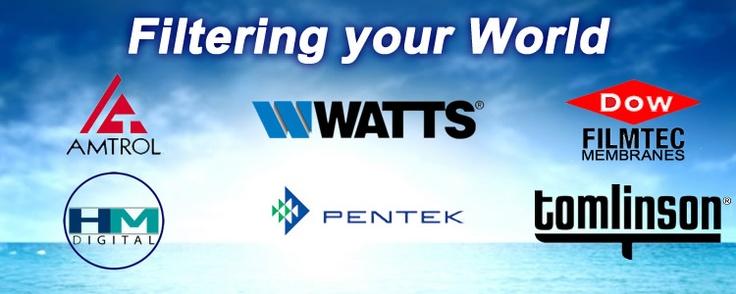 Watts, Amtrol, Filmtec Dow Membranes, Tomlinson RO Faucets, Pentek Water Filtration, HM Digital Test Meters, Amtrol RO tanks