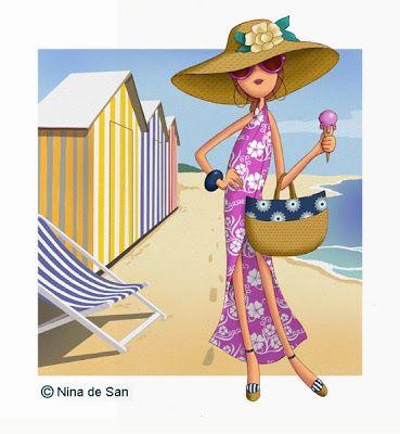 Ilustraciones Nina on the beach.