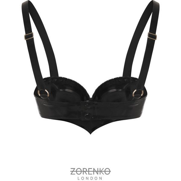 V Point Studed Latex Bra ($113) ❤ liked on Polyvore featuring intimates, bras, pointy bra, long line bra, latex bra, pointed bras and cup bra - what is lingerie for, lingerie videos, lace bralette lingerie *ad
