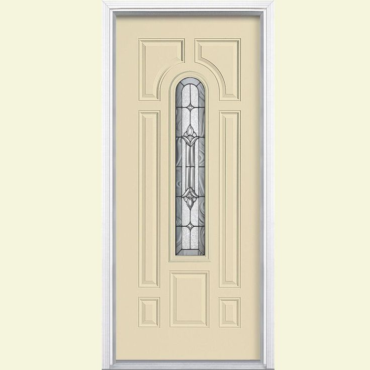 Masonite 36 in. x 80 in. Providence Center Arch Painted Steel Prehung Front Door with Brickmold,