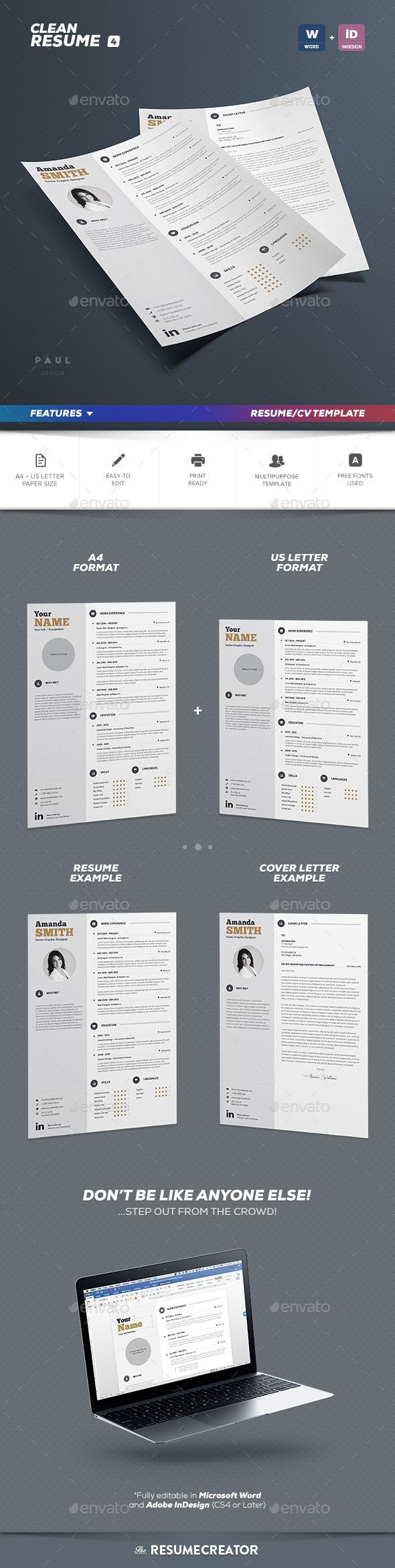 Die besten 25+ Free indesign resume template Ideen auf Pinterest ...