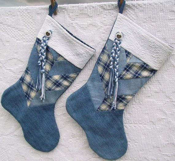 Denim and flannel stockings, made from recycled blue jeans. I used my own design to make these chevron pieced stockings. They are fully lined