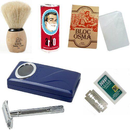 Set da barba con rasoio di sicurezza con lamette a doppia lama Shaving Factory / Alum Bloc Osma / Pennello da barba XS Shaving Factory / Sapone Arko e lamette Derby Extra Shaving Factory http://www.amazon.it/dp/B008NXMP4U/ref=cm_sw_r_pi_dp_95Sdvb0E7MB5T