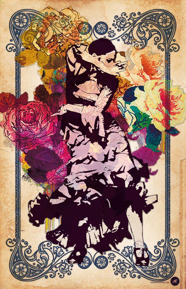 Flamenco Fleurs | Toril d'Artistes http://www.torildartistes.com/galerie-peintures-web-agence/portfolio-items/flamenco-fleurs/  Spaanse danser met bloemen achter.