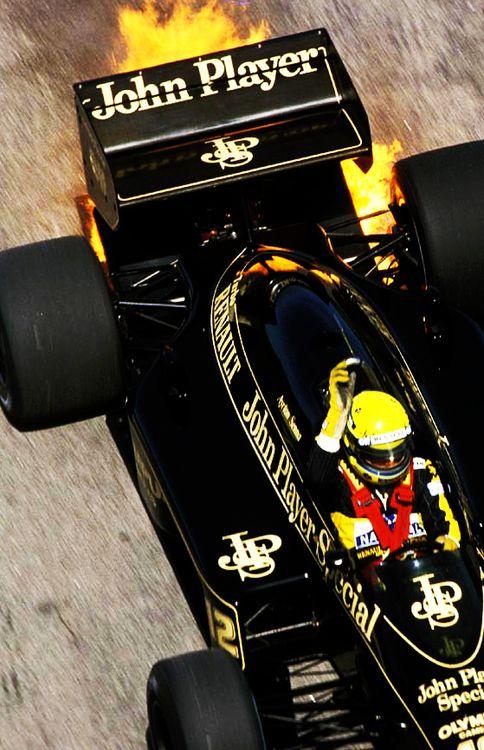 Ayrton Senna - Lotus 98T - TURBO FIRE !
