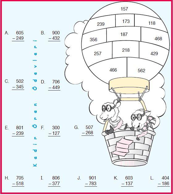 ilkokul ödevleri: 3. sınıf keçiler ve çıkarma etkinliği