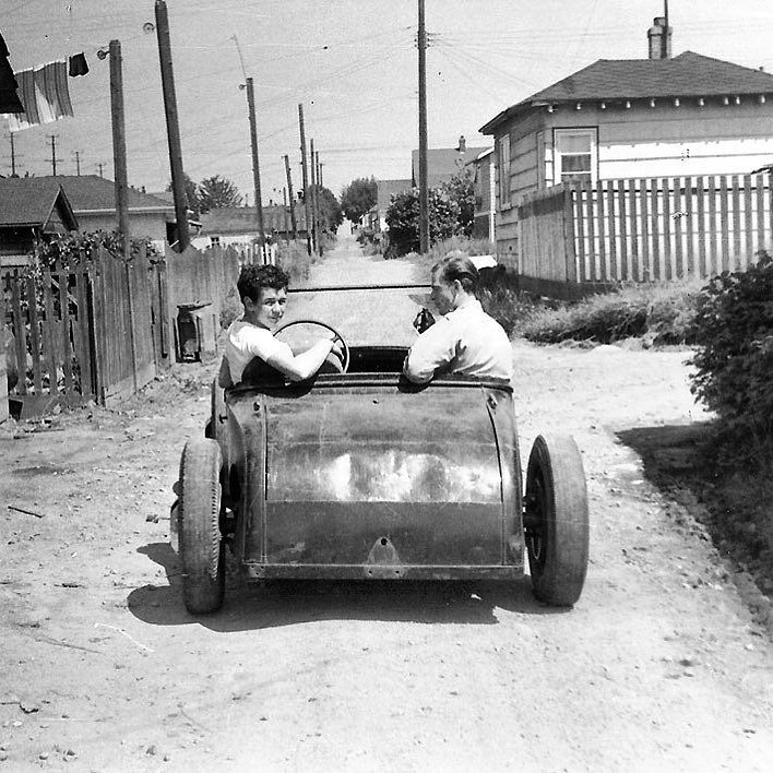 Vancouver British Columbia Canada 1954. Dan Wittenberg and Stewart Roy in Fred Merkley's Channeled Model A Roadster! Thanks to @craigpettman for providing us with this and plenty more old Candian hot rod photos! Stay tuned for more on #Kustomrama #VancouverHotRod #CanadaHotRod #roddersjournal #gasolinemagazine #hamb #hopuplive