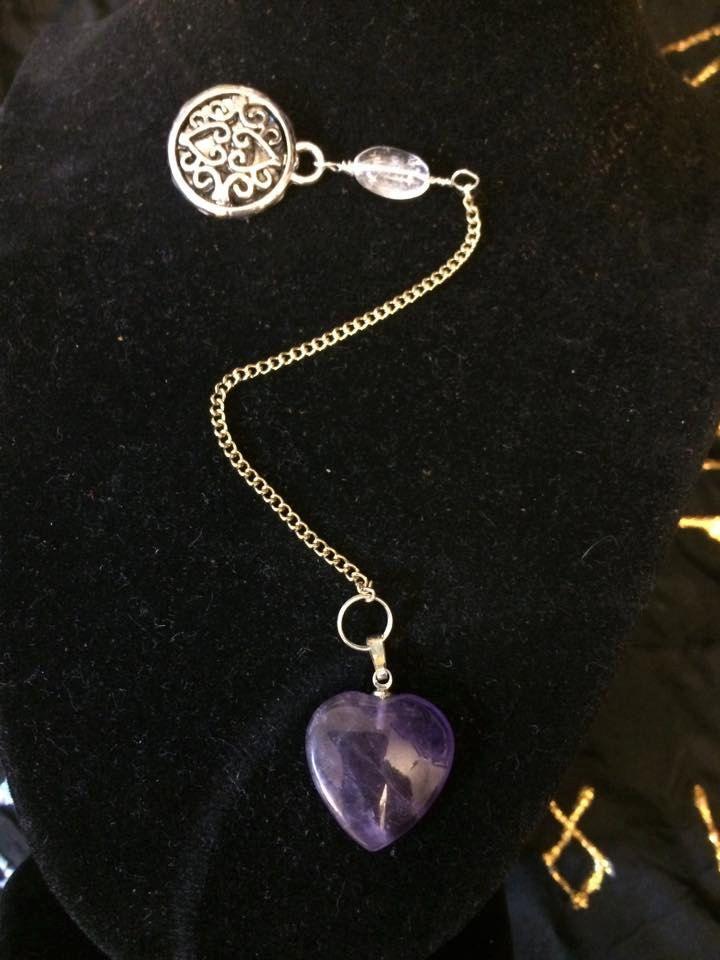 Pendulum with Amethyst Heart, Quartz and Charm Embellishments by WyrdWytchWayz on Etsy