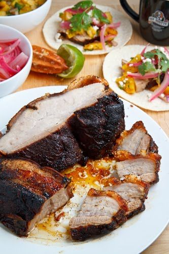 Coffee Rubbed Roasted Pork Belly Tacos