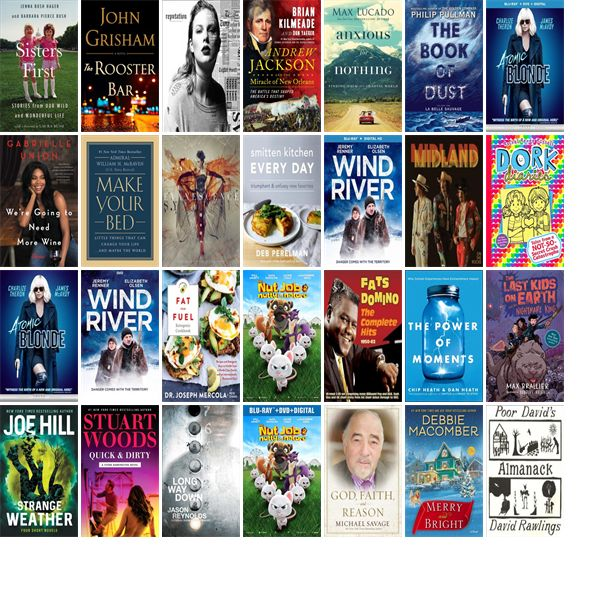 """Saturday, October 28, 2017: The San Antonio Public Library has 46 new bestsellers, 64 new movies, 43 new audiobooks, 33 new music CDs, 63 new children's books, and 306 other new books.   The new titles this week include """"Sisters First: Stories from Our Wild and Wonderful Life,"""" """"The Rooster Bar,"""" and """"Reputation."""""""