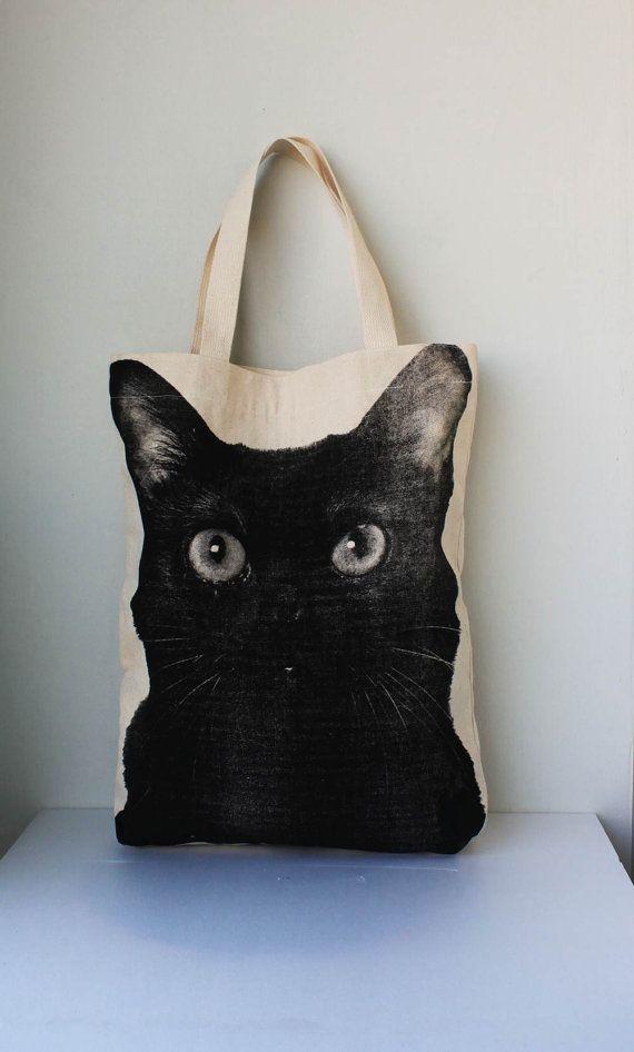 Black cat Canvas tote bag cat tote bag Diaper bag by Tshirt99