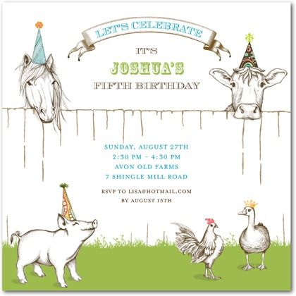 Birthday Party Invitations Farm Friends - Front : White