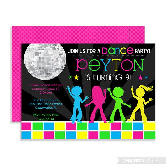 disco invitations dance party disco party invitations dance - Disco Party Invitations
