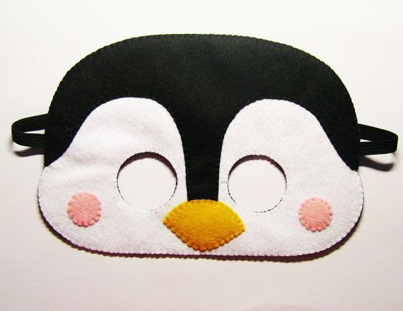 Penguin felt mask - white black yellow - party costume - for boys girls - soft dress up play accessory - Theatre roleplay - Gift for kids on Etsy, $19.00