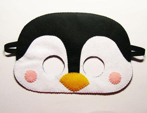 Penguin felt mask  white black yellow  party costume by FeltFamily, $19.00