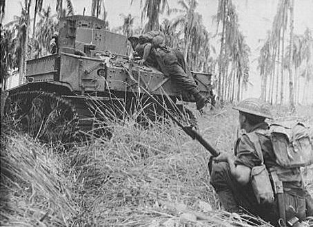 M3 Stuart & Australians during assault on Buna. New Guinea, December 1942