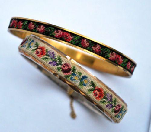 Vintage Petit Point Rosebud Embroidered Bangles
