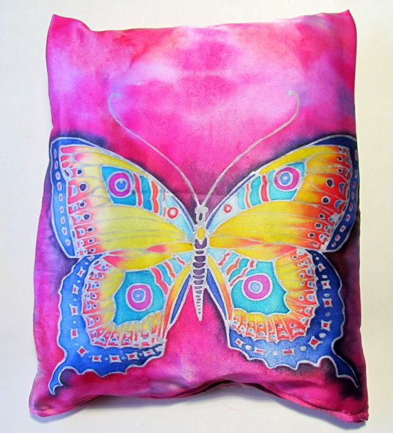 Decorative pillow made of artificial silk satin hand painted. Pink  butterfly pillow. Magenta pink pillow with butterfly.